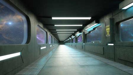 3d render. Futuristic interior concept design