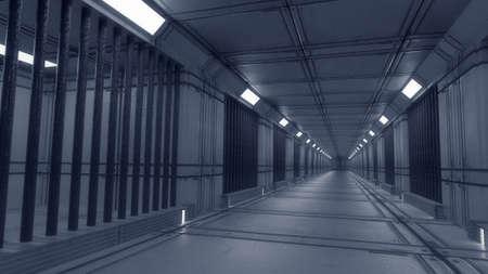 3d render futuristic interior jail