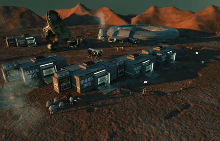 3d render. Colony of humans on a planet