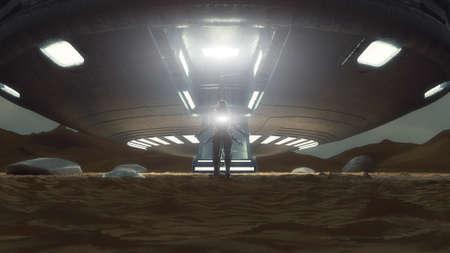 3d render. UFO spaceship concept