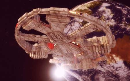 3d render. Spaceship concept design