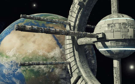 3d render. Space station and hotel Stock Photo