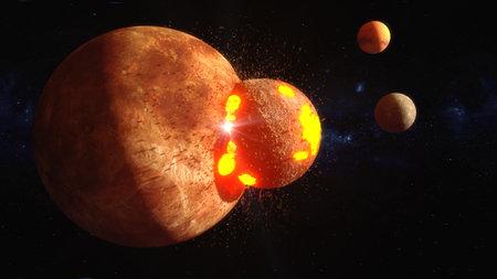 3d rendering. Meteorite crashing against planet Stock Photo