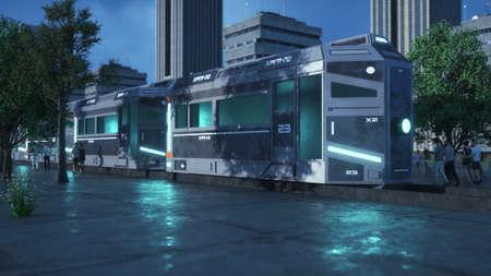 3d render. Futuristic train concept