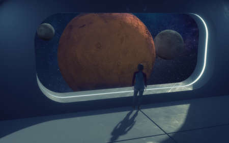 3d render. Futuristic interior and planets