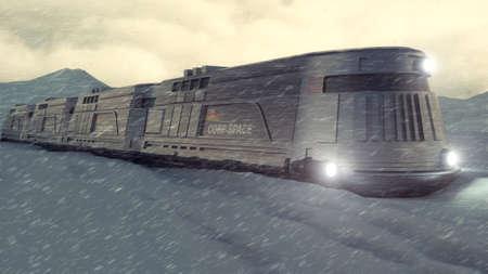 3d render. Icebreaker train and concept