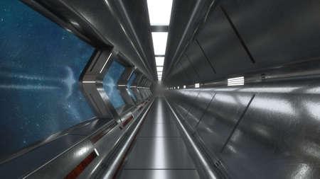3d render. Futuristic hallway. Concept of modern architecture and interior spaceship