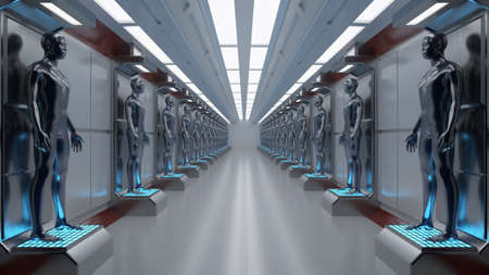 3D render. Cloning humanoid figures Stock Photo