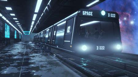 3d render. Futuristic space train concept