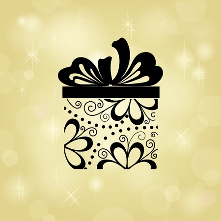 Gift box on gold background. Your text can be below placed Stock Photo