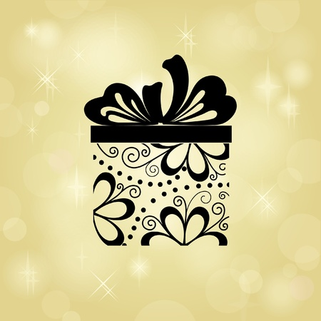 Gift box on gold background. Your text can be below placed Ilustração