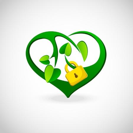 Vert printemps coeur verrouillé Banque d'images - 10488418