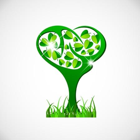 luminescence: Spring illustration of abstract green tree