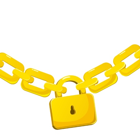 Background with padlock connecting gold chains   Vector