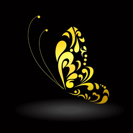 Gold decorative butterfly. Vector illustration