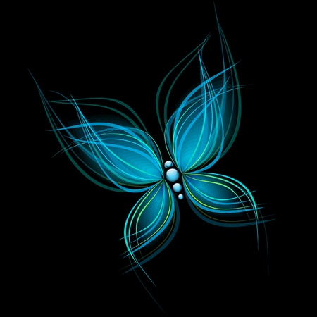 Bright blue butterfly isolated on black background