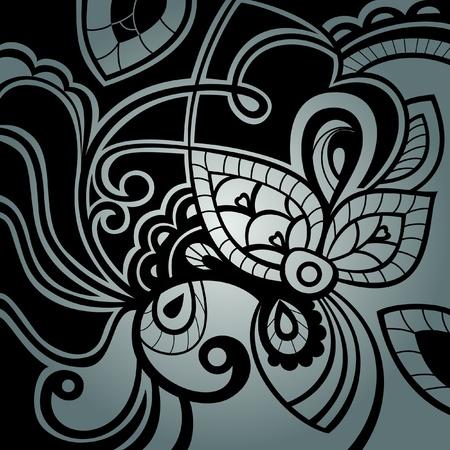 Fondo lacy floral - textura.  Negro