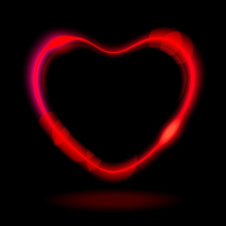 Abstract red heart on black background