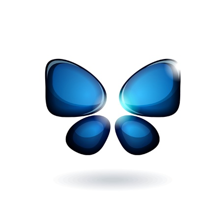 Blue abstract butterfly isolated on white background