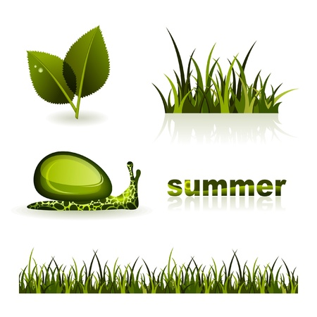 Set of illustrations on theme of summer Vector