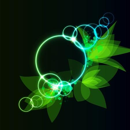 Fondo abstracto de primavera con hojas verdes  Vectores