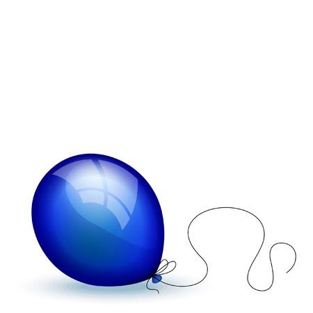 Bright dark blue balloon on white background