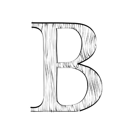 Letter B with wood texture Stock Vector - 10556634