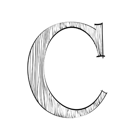 Letter C with wood texture Illustration