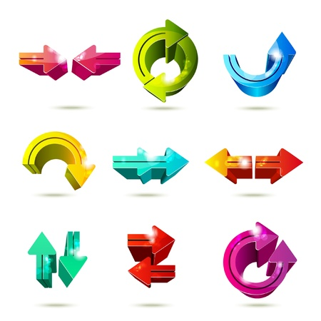 Set of icons. Color arrows isolated on white background Vector