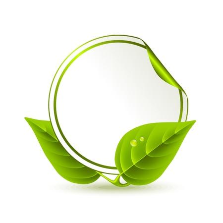 Pegatina redonda decorada con hojas de color verde
