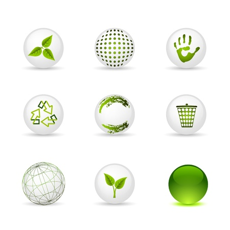 Set of icons - spheres: ecology and green Vector