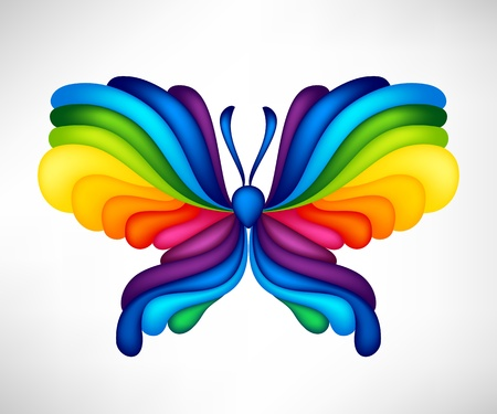 single color image: Abstract vector butterfly of color of rainbow