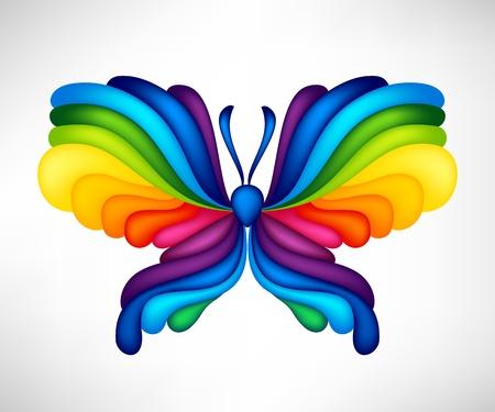 arcoiris: Mariposa de vectores abstractos de color arco iris Vectores