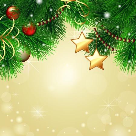 evergreen branch: Fondo de Navidad con el �rbol de Navidad decorado sobre fondo de oro de vectores