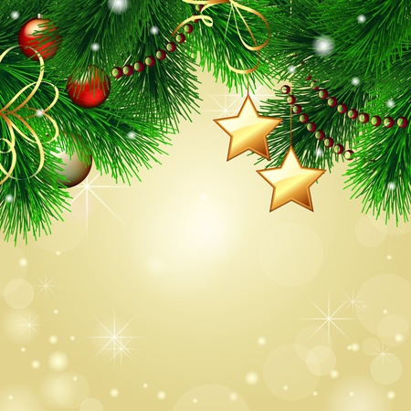 evergreen: Vector Christmas background with decorated Christmas tree on gold background Illustration