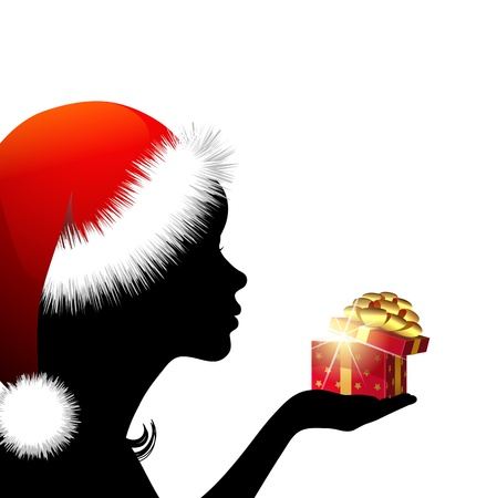 Abstract vector image of girl with  Christmas gift Vector