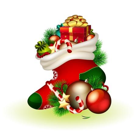 Vector kerstsok met geschenken op witte achtergrond Vector Illustratie
