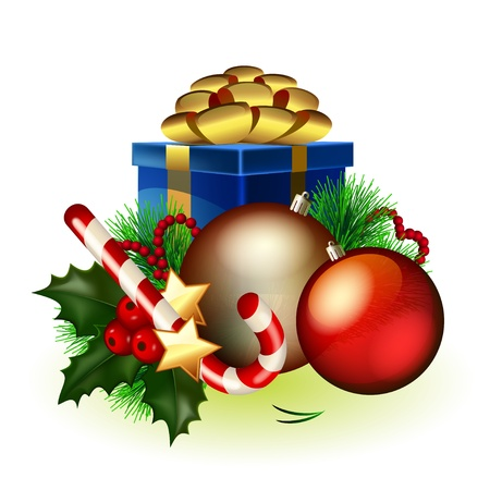 balls decorated: Bright christmas composition of decorations and gifts