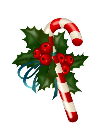 Christmas sugar candy decorated with holly on white background