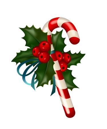canes: Natale, caramelle di zucchero decorato con agrifoglio su sfondo bianco