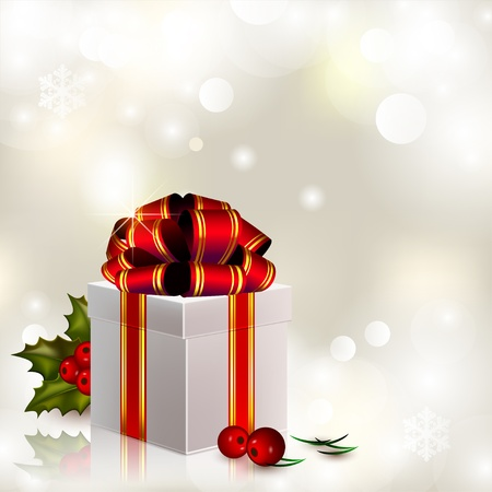 Christmas gift with red bow on sparkling silvery background Vector