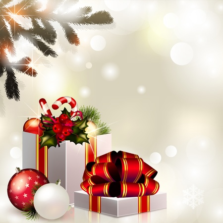 Vector Christmas composition on brilliant background