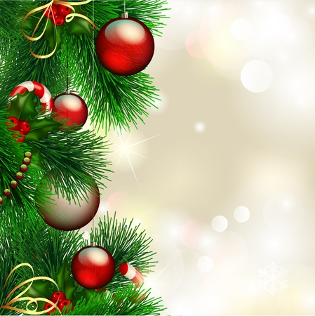 christmas background with decorated christmas tree on shiny background