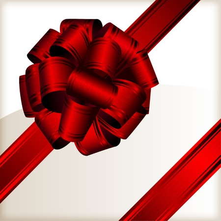 Red big bow with fabric structure on a white background