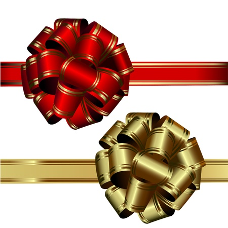 fiocco oro: set di due archi: rosso e oro, su sfondo bianco