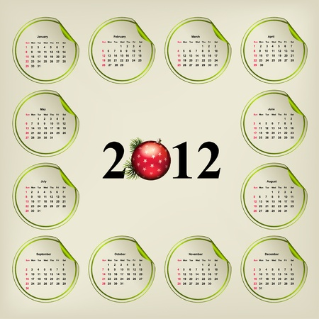 almanac: New Years vector calendar, weeks are located on round stickers