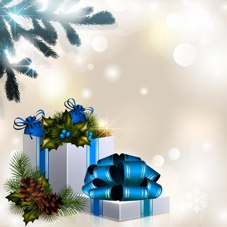 fir cone: Navidad composici�n sobre un fondo brillante Vectores