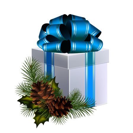 Christmas gift with big blue bow, decorated with coniferous branches