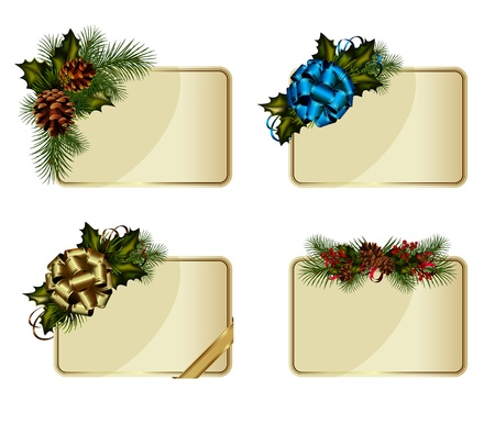 Set of Christmas cards decorated with decorative elements Vector