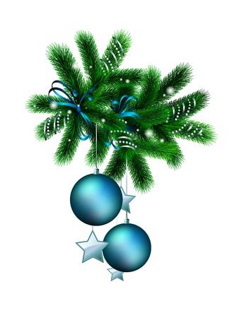 Décoré de la branche de l'arbre de Noël sur fond blanc Banque d'images - 11126602